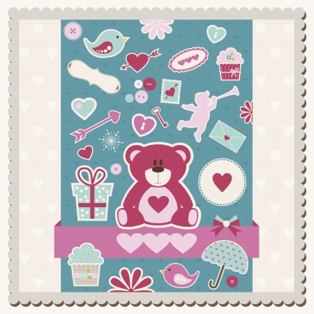 Vector illustration of Valentine s Day card with scrapbook elements