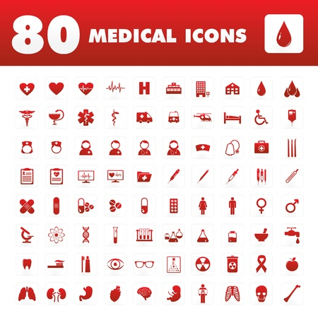 A set of eighty unique icons with medical themes