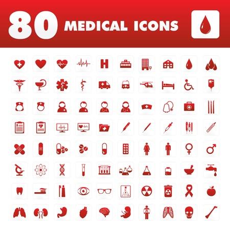 Un ensemble de quatre-vingts icônes uniques avec des thèmes médicaux Banque d'images - 20995948