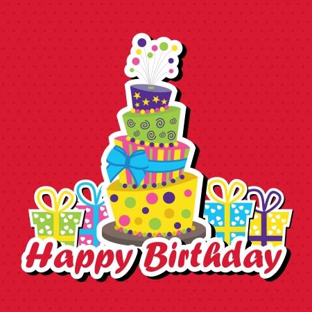 happy birthday cartoon: Vector illustration of birthday card with topsy-turvey cake