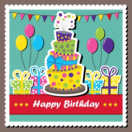 Vector illustration of birthday card with topsy-turvey cake