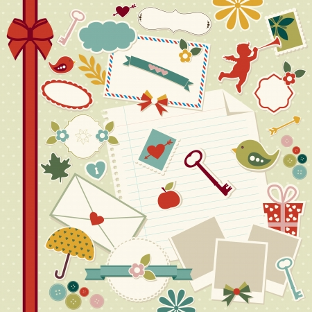 Various vector scrapbook elements Illustration