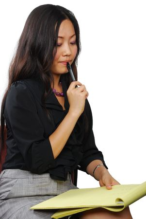 Beautiful Asian woman with notepad