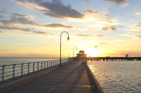 Sunset on the St Kilda jetty, Melbourne, Australia Stock Photo - 9187465