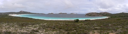 Panorama of Lucky Bay, Esperance, Cape Le Grand National Park, Western Australia Stock Photo