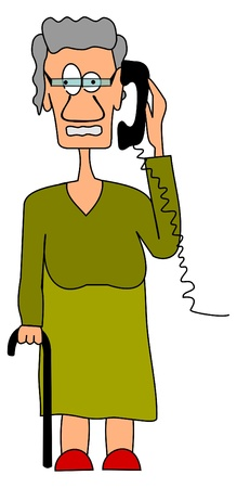 woman on phone: Grandma