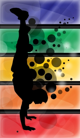 Silhouette of a guy doing handstand