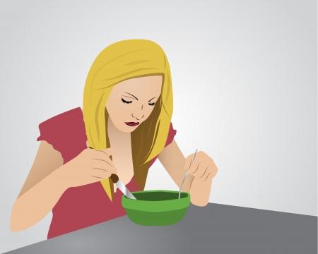 Eating girl Stock Vector - 16842212
