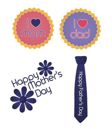 Set of mother father s day signs Vector