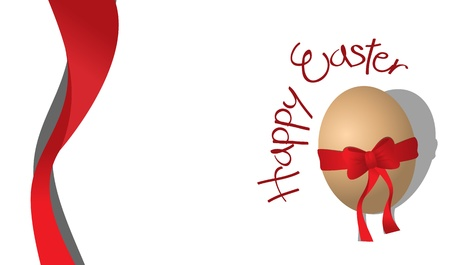 Easter card with an egg and a red ribbon Illustration