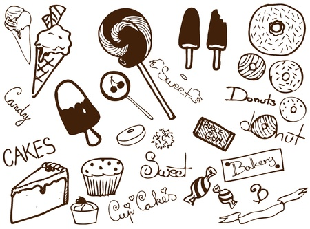 Collection of sweet products Vector