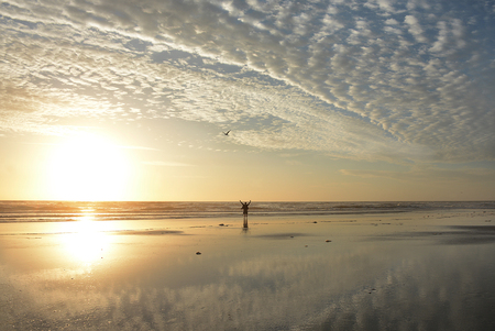 Man with raised, outstretched arms relaxing and enjoying time on the beach at sunrise. Beautiful cloudy sky reflected in the water on the beach. Jacksonville, Florida, USA.