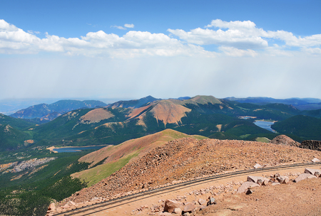 Beautiful mountain landscape, from the top of Pikes Peak.  Pike National Forest, Cascade, Colorado, USA