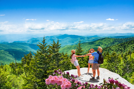 Family having fun, relaxing on the top of mountain on vacation hiking trip. People holding hands in circle.  Blue Ridge Mountains, North Carolina, USA. Stok Fotoğraf