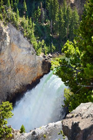 Beautiful Lower Falls. View from close distance.The Grand Canyon of the Yellowstone National Park, Wyoming, USA.