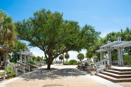 Beautiful boardwalk leading to the beach, palm trees along the footpath. Coligny Beach Park, Hilton Head Island, South Carolina, USA