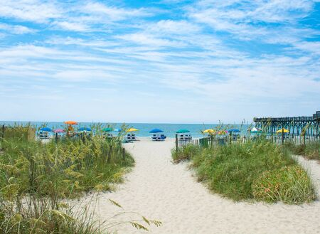 Beautiful beach in South Carolina. Beach chairs and parasols on the sand in the background.  Myrtle Beach, South Carolina, USA. Stok Fotoğraf