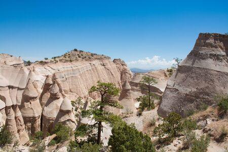Beautiful mountainscenery. Kasha-Katuwe Tent Rocks National Monument, Close to  Santa Fe, New Mexico, USA Stok Fotoğraf