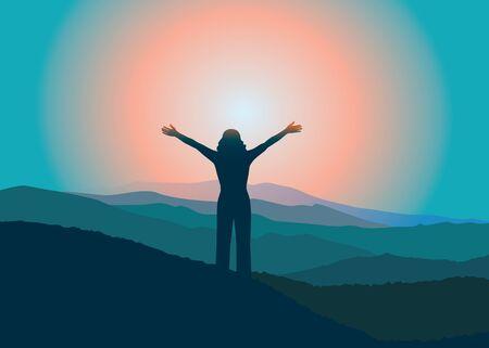 Mujer con las manos en la cima de la montaña. Chica relajante de vacaciones. Ilustración vectorial editable. Montañas Blue Ridge, Carolina del Norte, Estados Unidos.