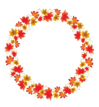 Autumn leaves border isolated on White. Red, yellow and orange fall leaves with copy space arranged around circle.