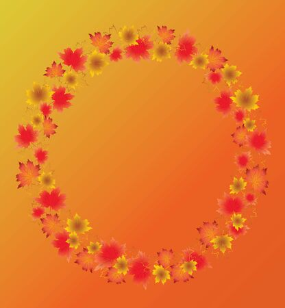 Autumn leaves border isolated on orange background. Red, yellow and orange fall leaves with copy space arranged around circle.