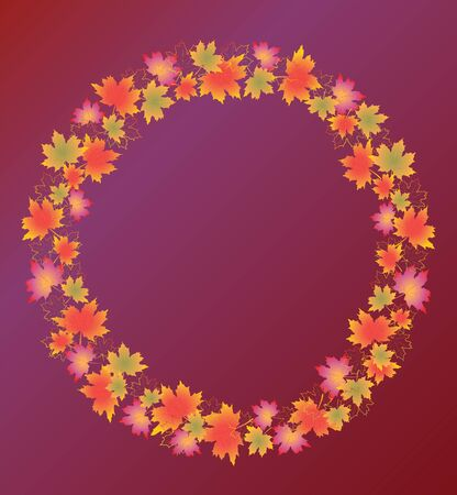 Autumn leaves border isolated on Purple background. Red, green and orange fall leaves with copy space arranged around circle.
