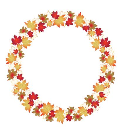 Autumn leaves border isolated on White. Red, yellow and orange fall leaves with copy space arranged around circle.  Fall foliage frame for text. Editable vector illustration, EPS10.