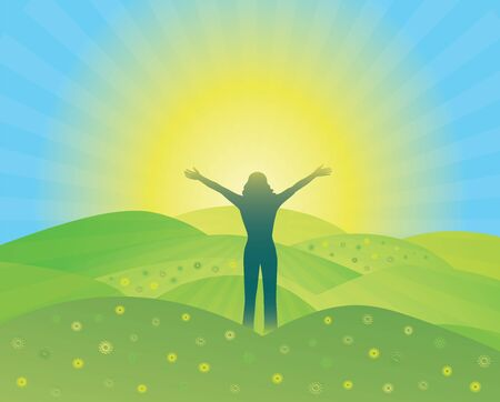 Woman with hands up on the top of mountain. Woman silhouette with raised arms. Sun rays illuminating hills.Vector illustration. Blue Ridge Mountains, North Carolina, USA. Çizim