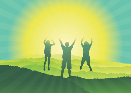 Happy family with hands up jumping and having fun on the top of mountain. Silhouettes of people with raised arms on hiking trip.  Vector illustration. Blue Ridge Mountains, North Carolina, USA.