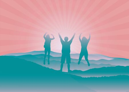 Happy family with hands up jumping and having fun on the top of mountain  Vector illustration. Blue Ridge Mountains, North Carolina, USA. Çizim