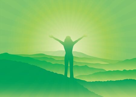 Girl with hands up on the top of mountain. Woman silhouette with raised arms. Vector illustration. Blue Ridge Mountains, North Carolina, USA. Çizim