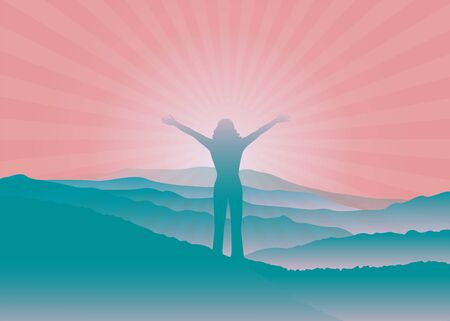 Woman with hands up on the top of mountain. Woman silhouette with raised arms. Vector illustration. Blue Ridge Mountains, North Carolina, USA. Çizim