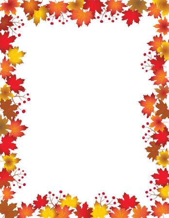 Autumn leaves border isolated on white