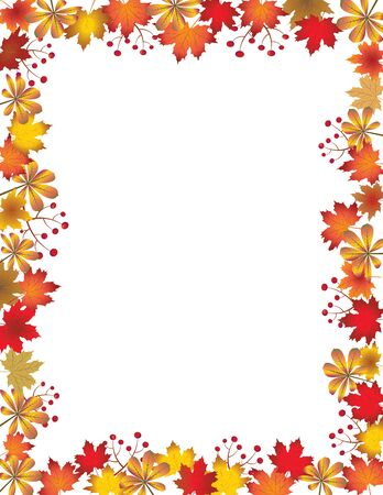 Autumn leaves border isolated on white background. Red, brown and orange fall leaves with copy space. Fall foliage frame for text. Editable vector illustration, EPS10. Zdjęcie Seryjne