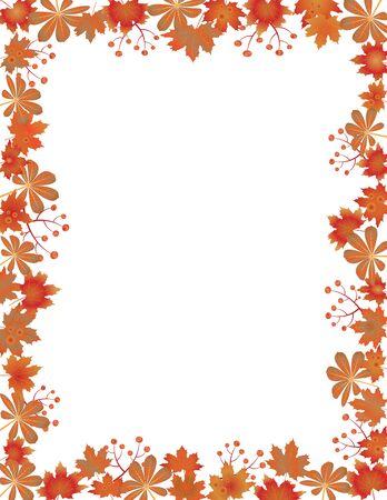 Herbstlaubgrenze lokalisiert auf weißem Hintergrund. Rote, braune und orangefarbene Herbstblätter mit Kopierraum. Herbstlaubrahmen für Text. Bearbeitbare Vektorillustration, EPS10.