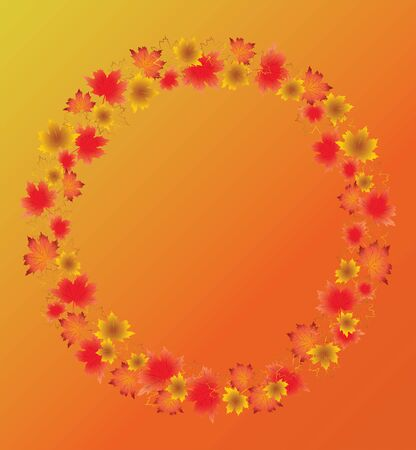 Autumn leaves border isolated on orange background. Red, yellow and orange fall leaves with copy space arranged around circle.  Fall foliage frame for text. Editable vector illustration, EPS10. Ilustracja