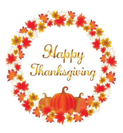 Thanksgiving leaves border isolated on White. Red, yellow and orange fall leaves and pumpkin with copy space arranged around circle.  Fall foliage frame for text. Editable vector illustration, EPS10. Stock Illustratie
