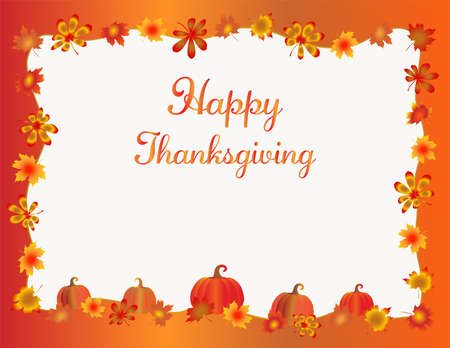 Thanksgiving frame isolated on white background. Pumpkins  red, yellow and orange fall leaves and copy space. Holiday fall foliage border for text. Editable vector illustration, .