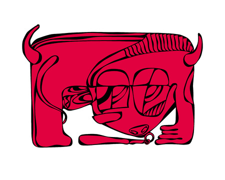 red bull: abstract angry red bull dangerous vector illustration