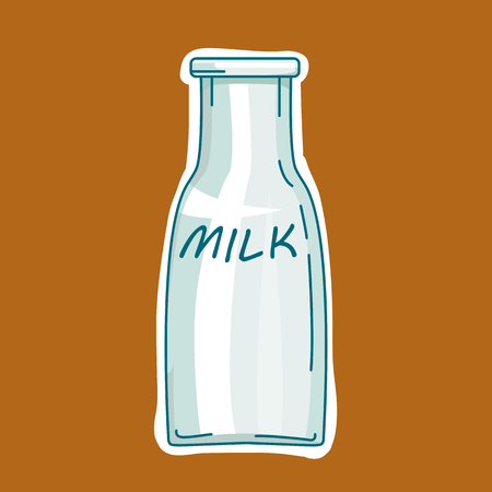 milkman: Illustration isolated milk bottle labeled drink Illustration
