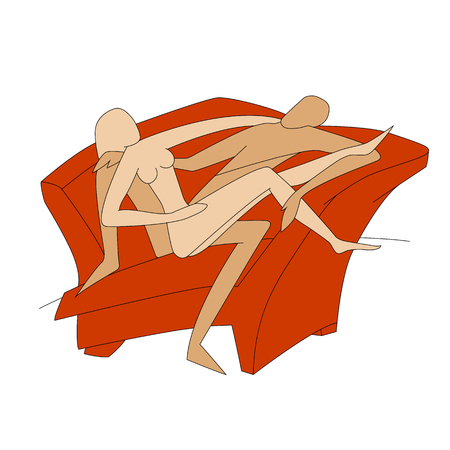 two loving boy and girl on a red sofa vector