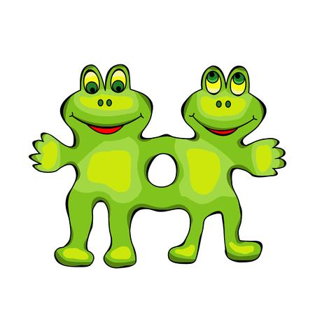 leapfrog: merry green frog twins mutants isolated illustration Illustration