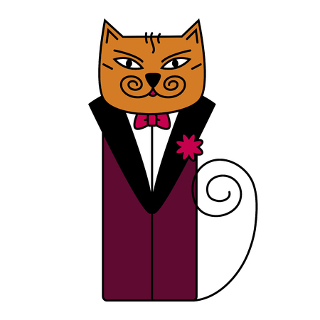 anthropomorphism: solid cat in a suit with a flower illustration