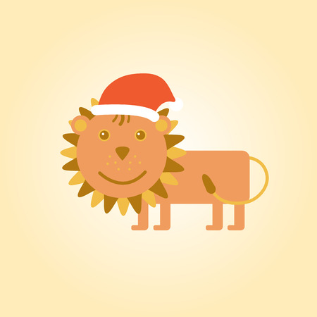 new year's cap: Cute lion smiling with New Years cap