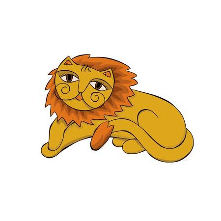 mane: sad red lion with a fluffy mane illustration
