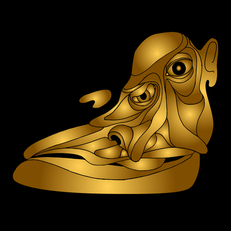 character abstract: head face person gold abstract illustration Illustration