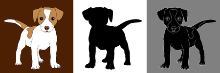 russel: fox terrier puppy dog silhouette set isolated Illustration