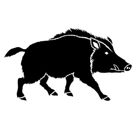 cinghiale silhouette illustrazione nera di vettore