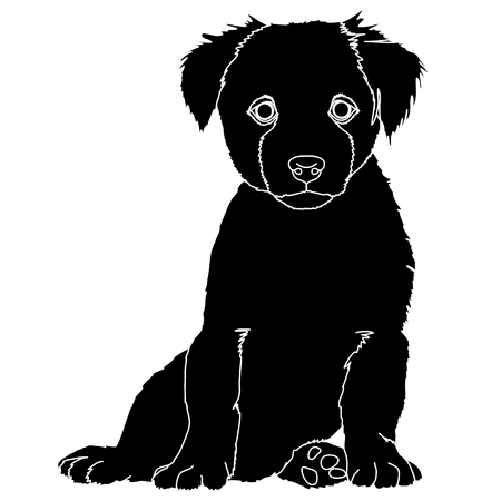 puppy silhouette black