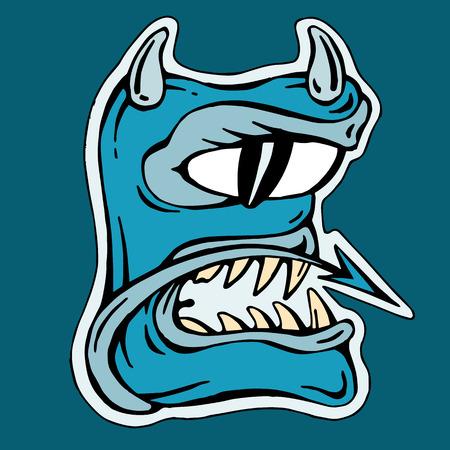 mutant: stylized blue letter E isolated monster mutant illustration